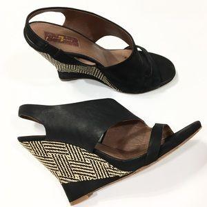 7FAM Leather & Rattan Wedge Sandal Slingback